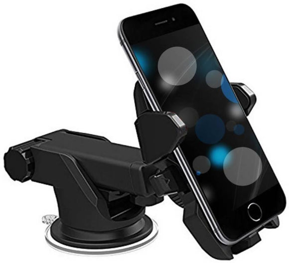 One Touch Car Mobile Holder Mount long neck with 360 Degree Rotation Black - YourDeal India