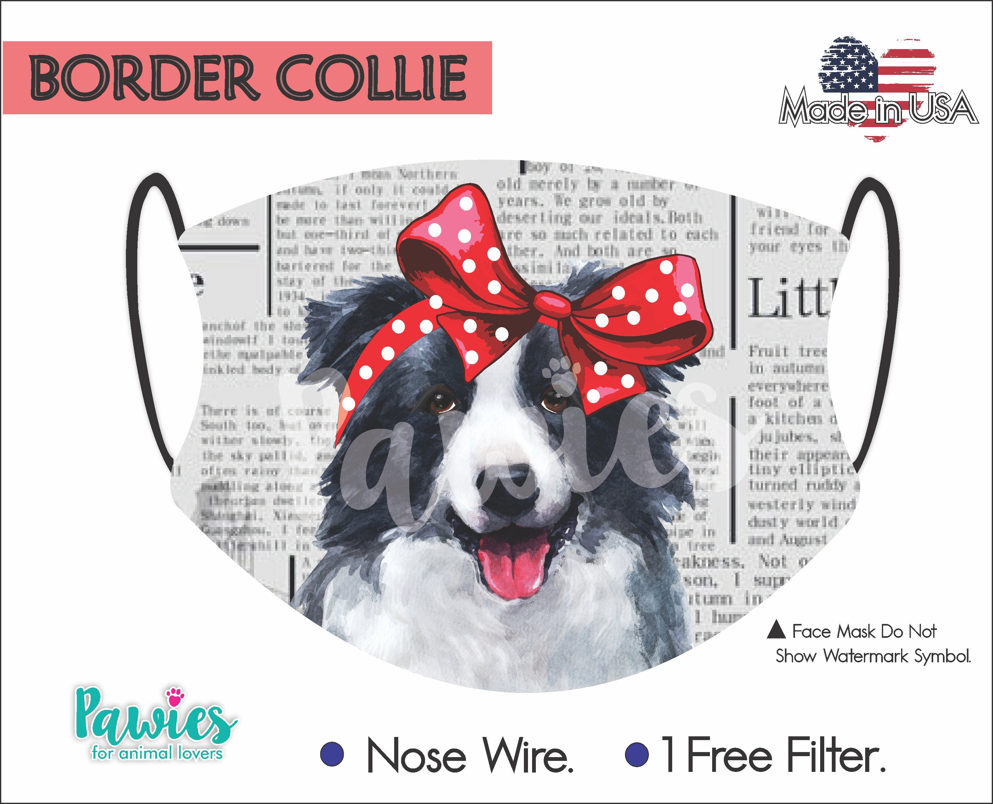 Border Collie Black and White Face Mask