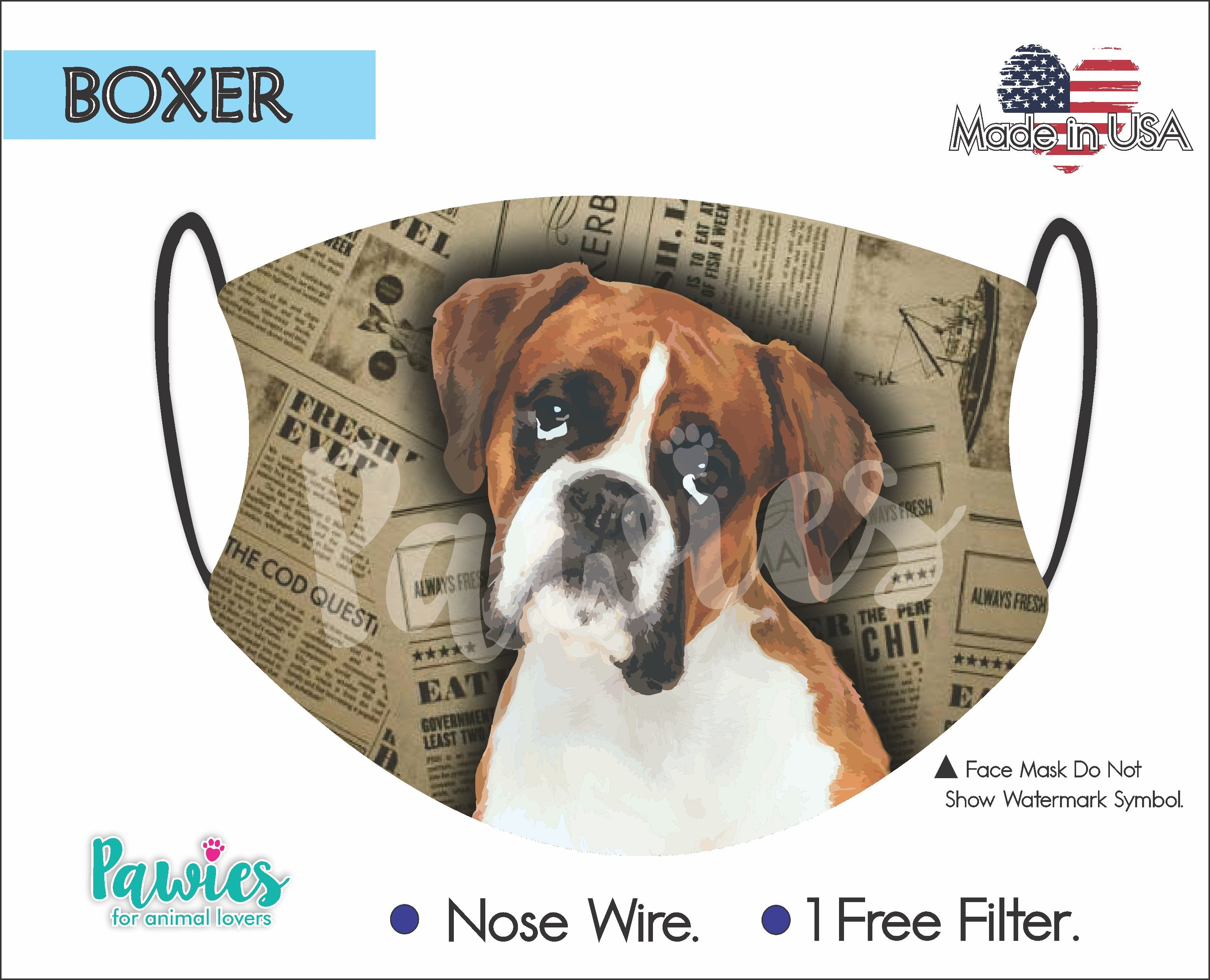 Boxer Fawn Face Mask