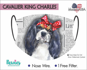 Open image in slideshow, Cavalier King Charles Spaniel Tricolor Face Mask