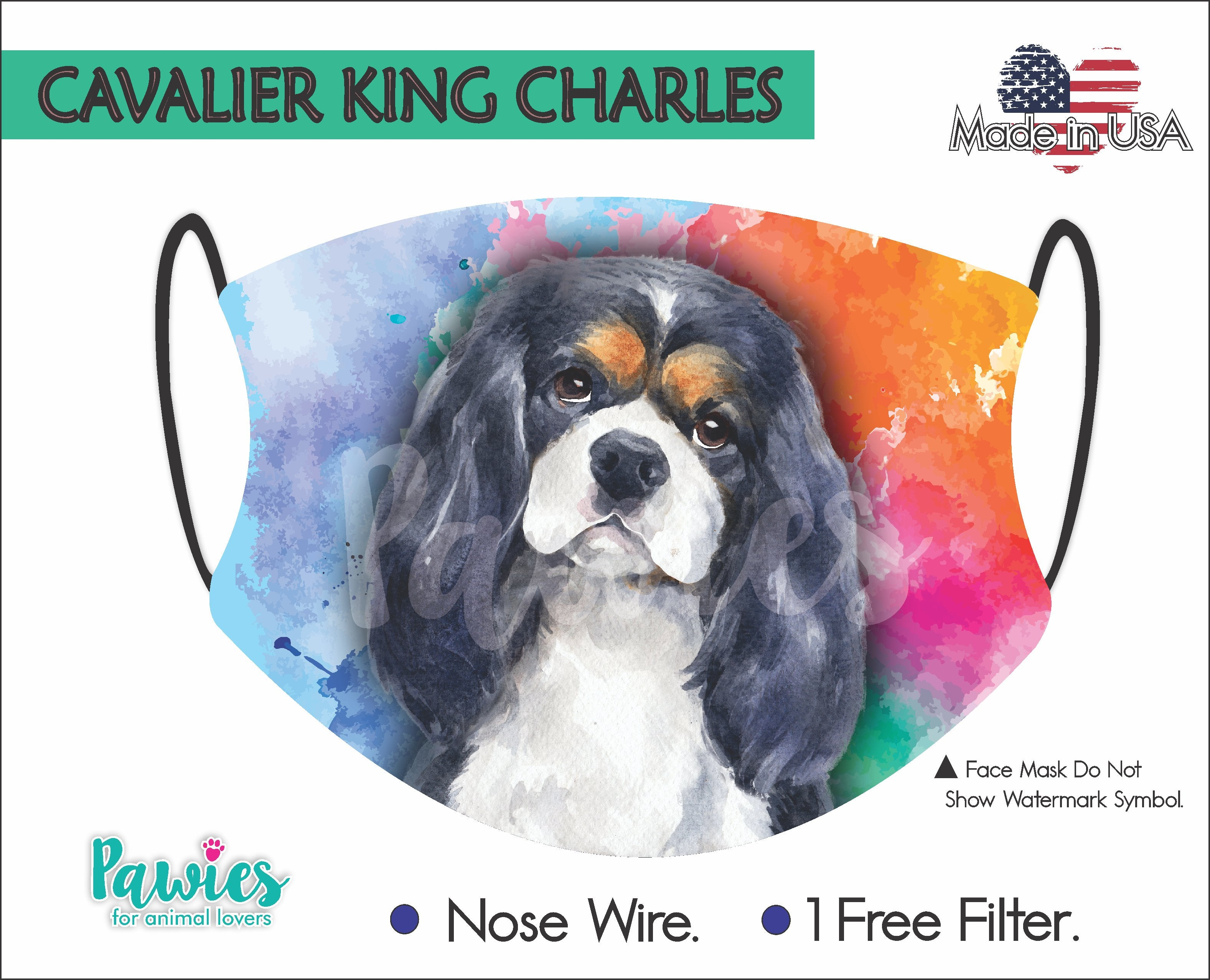 Cavalier King Charles Spaniel Tricolor Face Mask