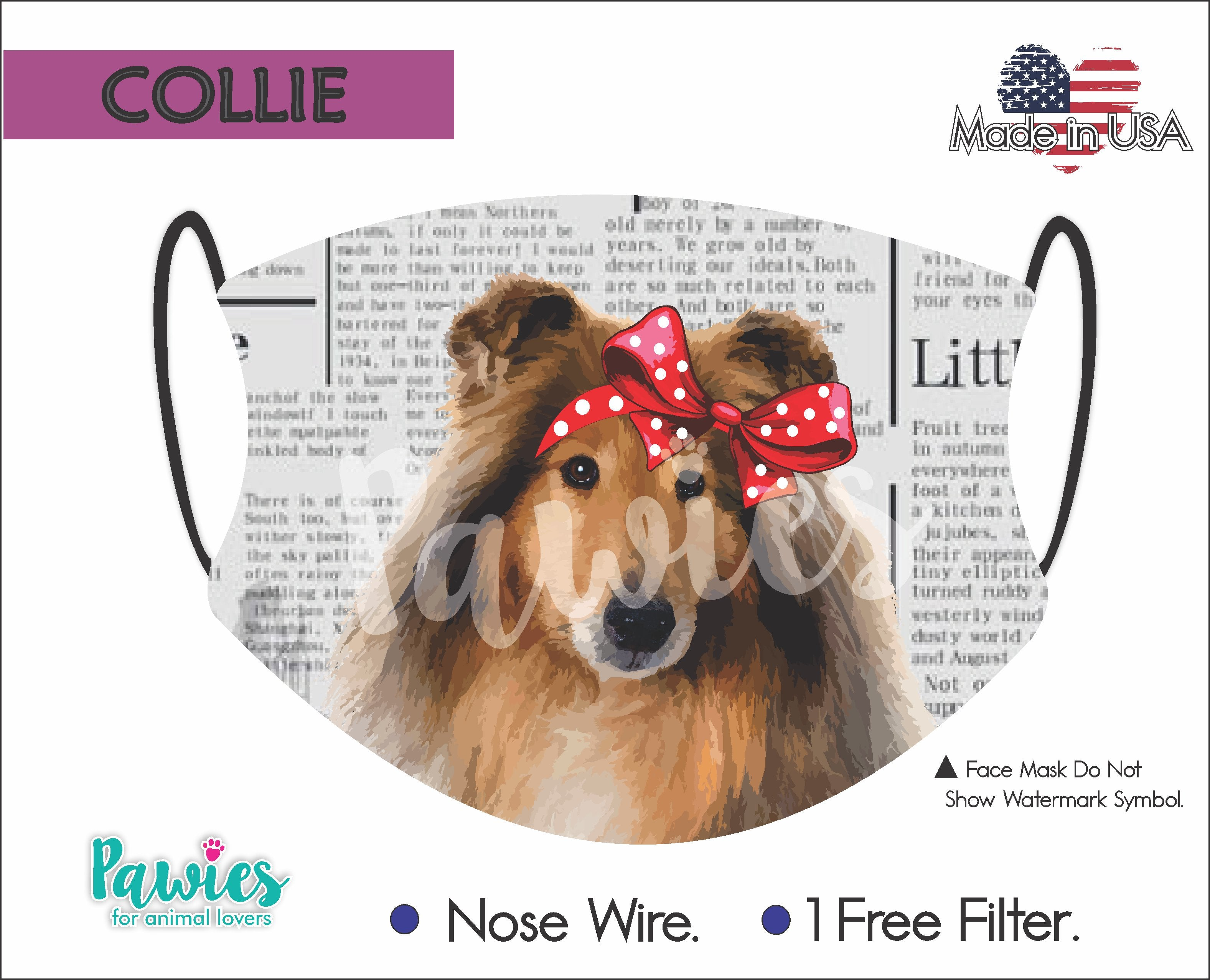 Collie Face Mask