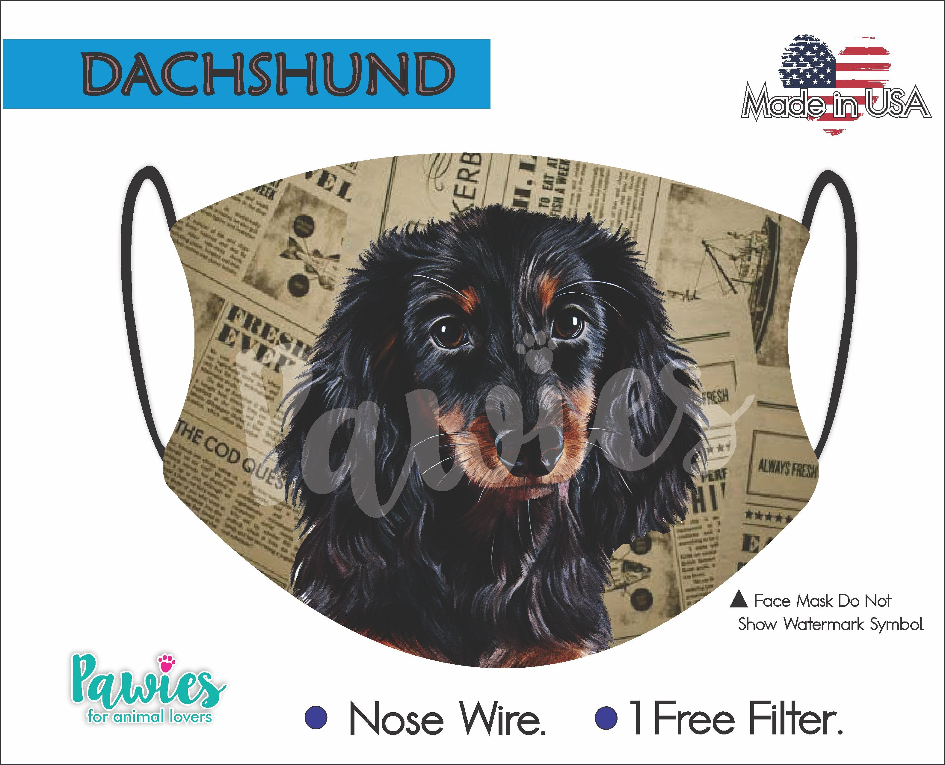 Dachshund Longhaired Face Mask
