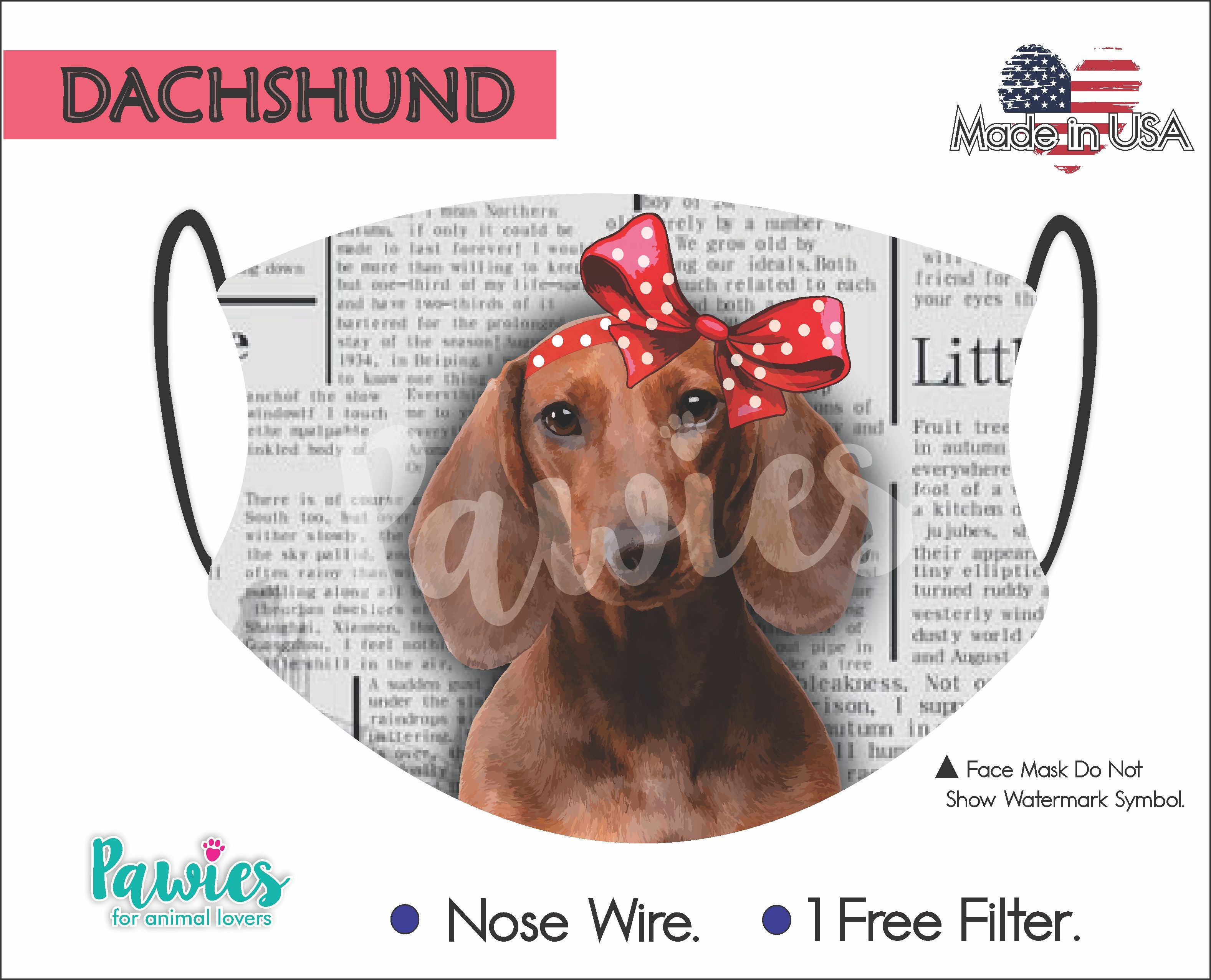 Dachshund Red Face Mask