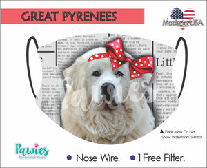 Open image in slideshow, Great Pyrenees Face Mask