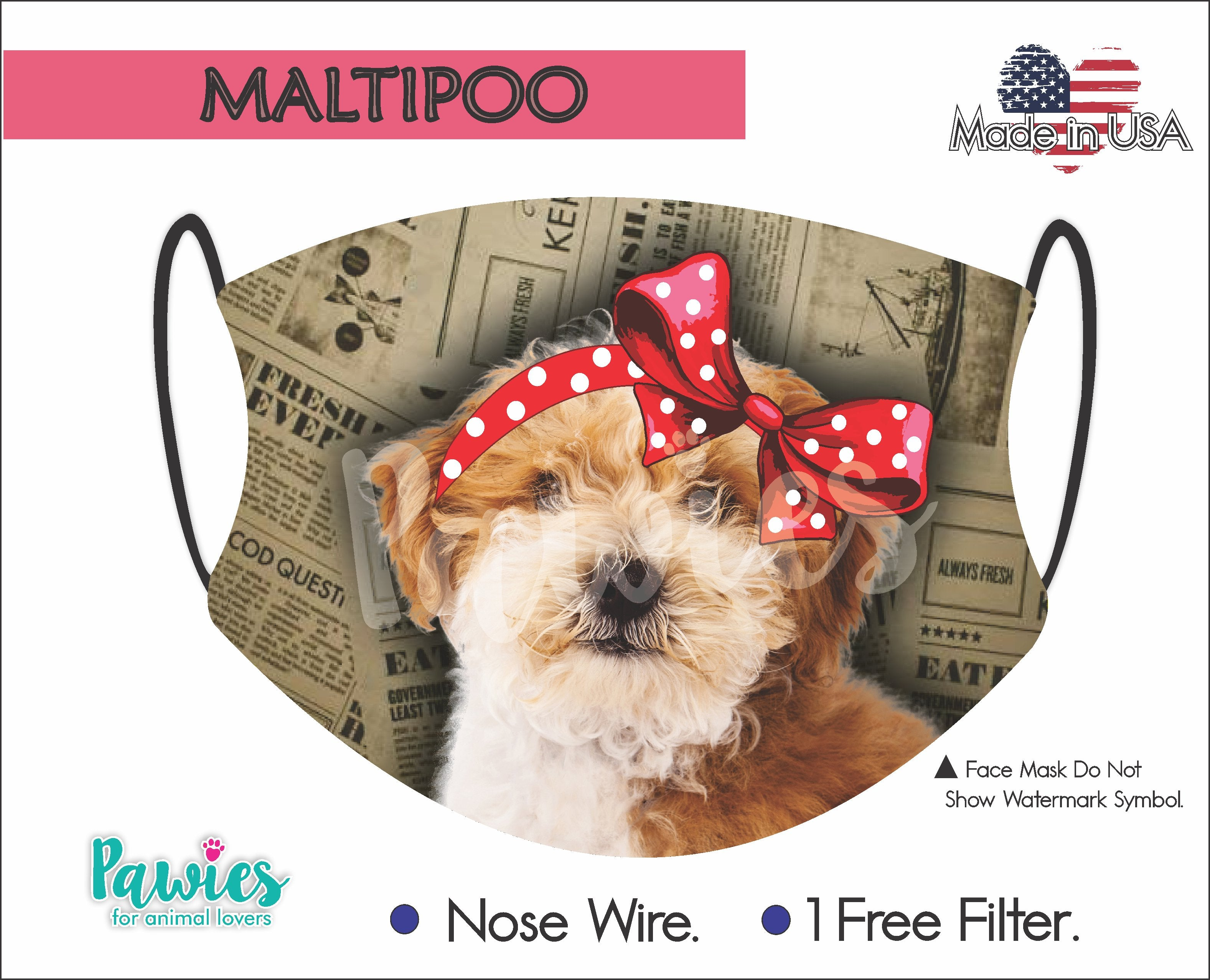 Maltipoo Chocolate and White Face Mask