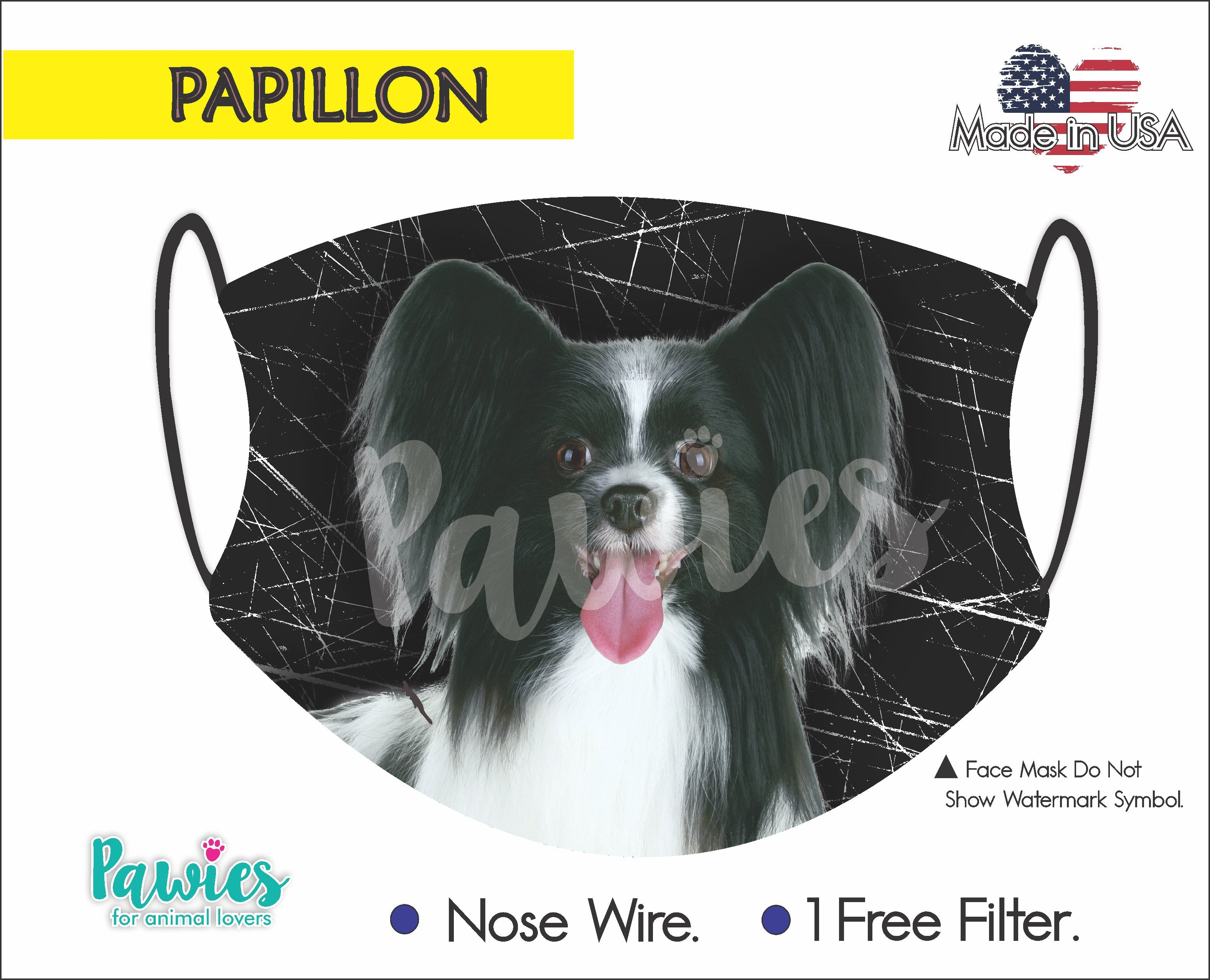 Papillon Black Face Mask