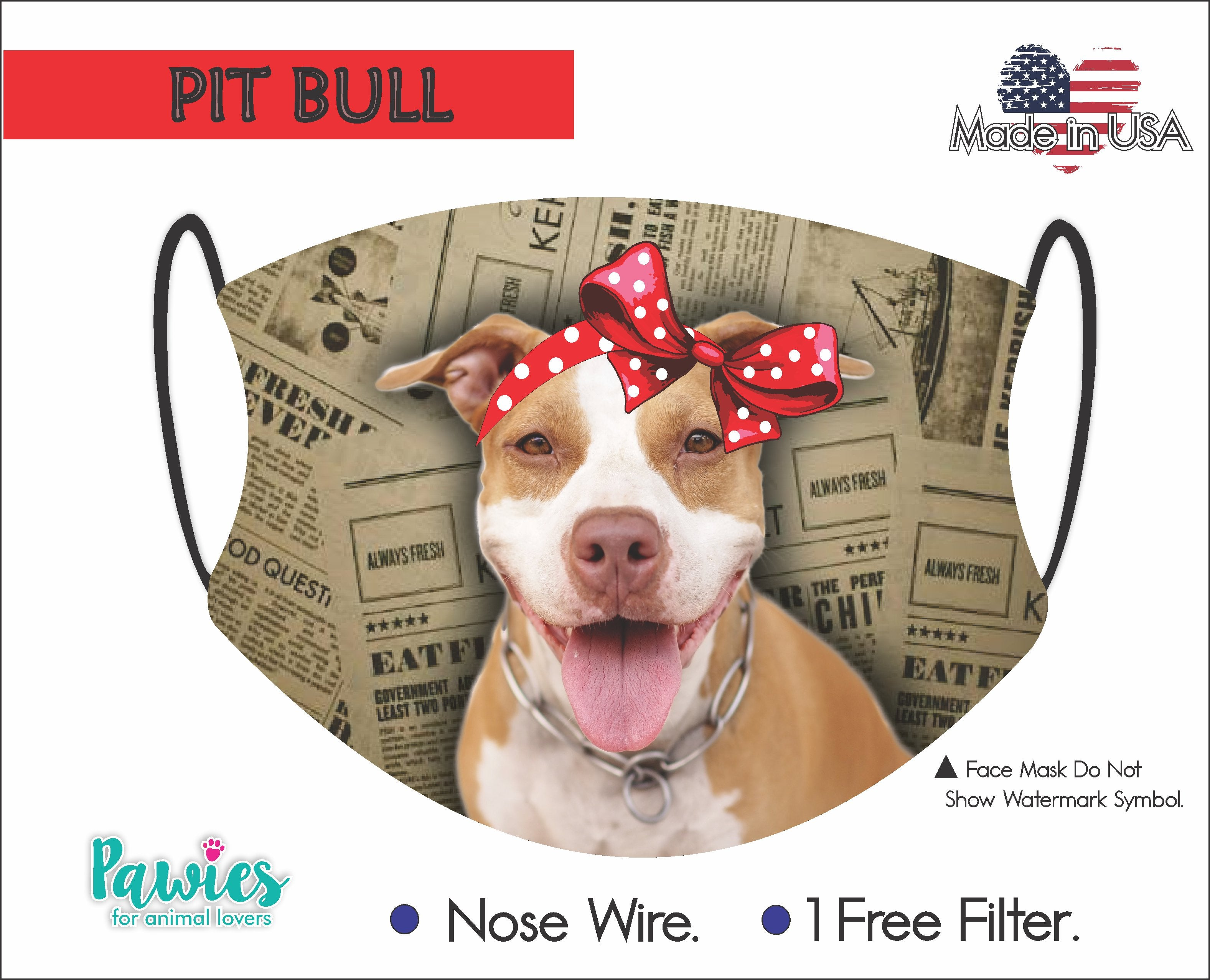 Pit Bull Gold and White Face Mask