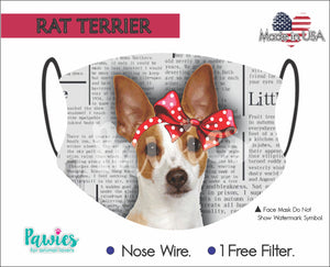 Open image in slideshow, Rat Terrier Red and White Face Mask