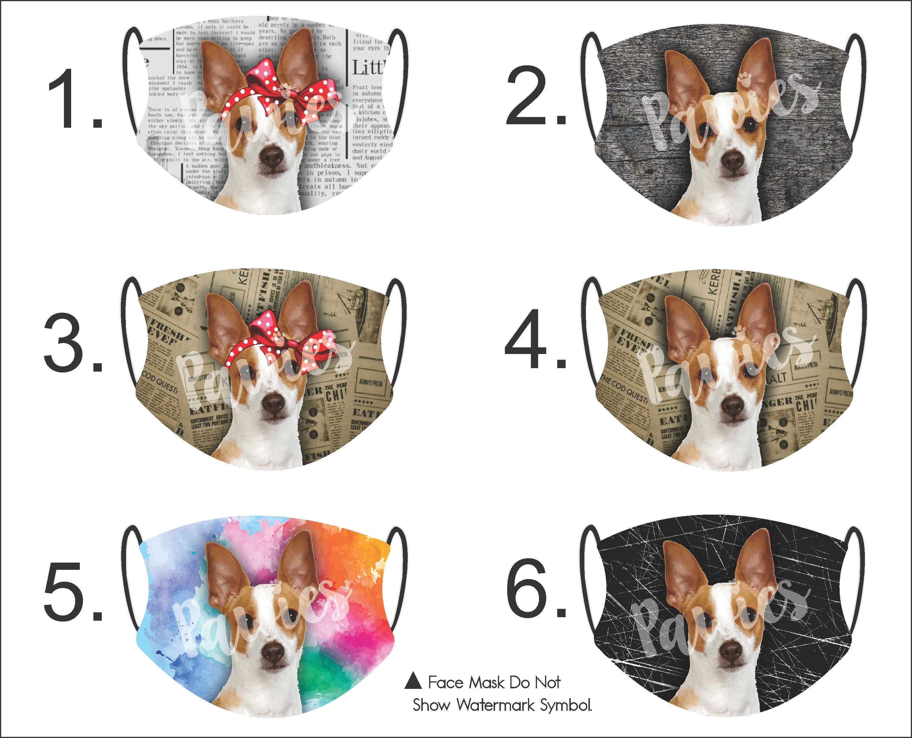 Rat Terrier Red and White Face Mask