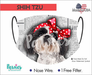 Open image in slideshow, Shih Tzu Black and White Face Mask