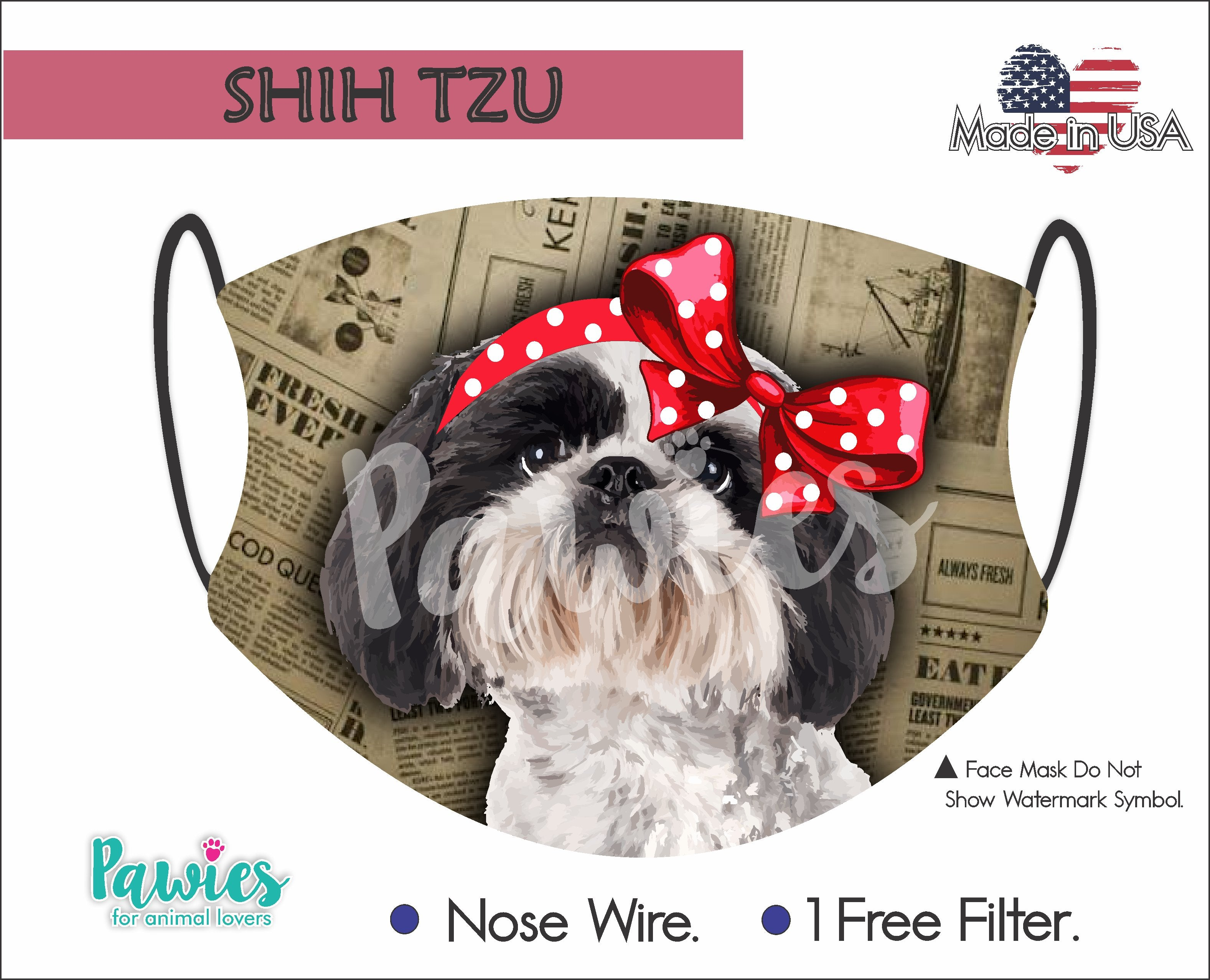 Shih Tzu Black and White Face Mask