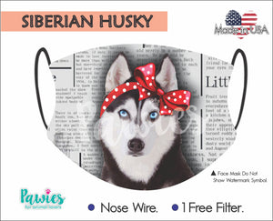 Open image in slideshow, Siberian Husky Black and White Face Mask