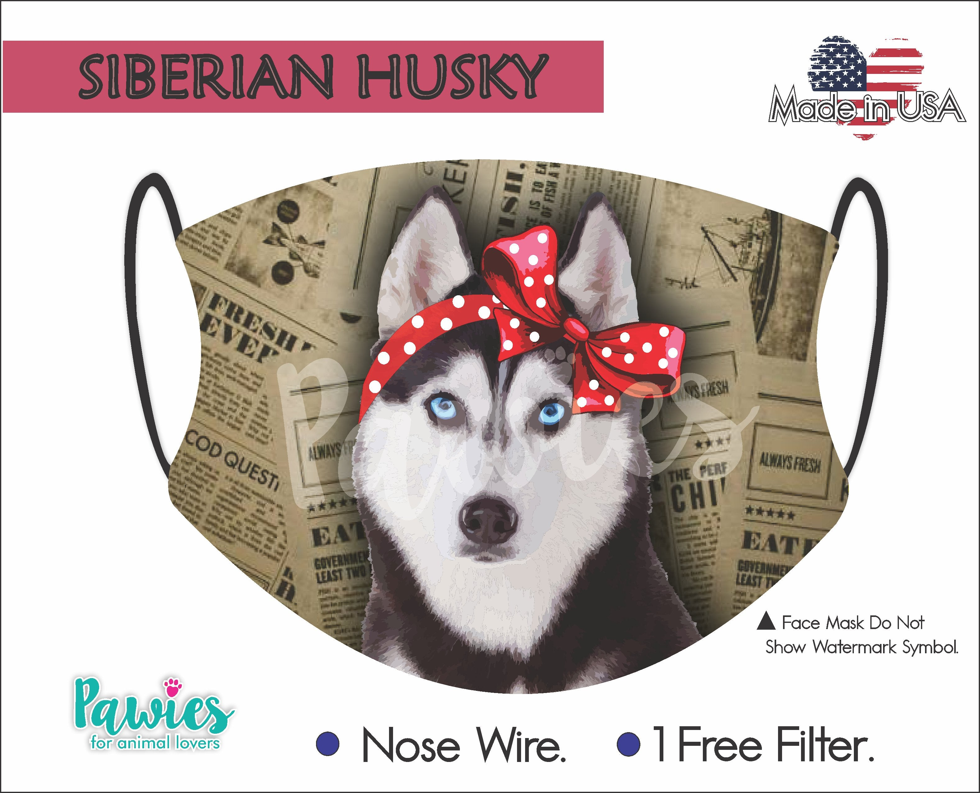 Siberian Husky Black and White Face Mask