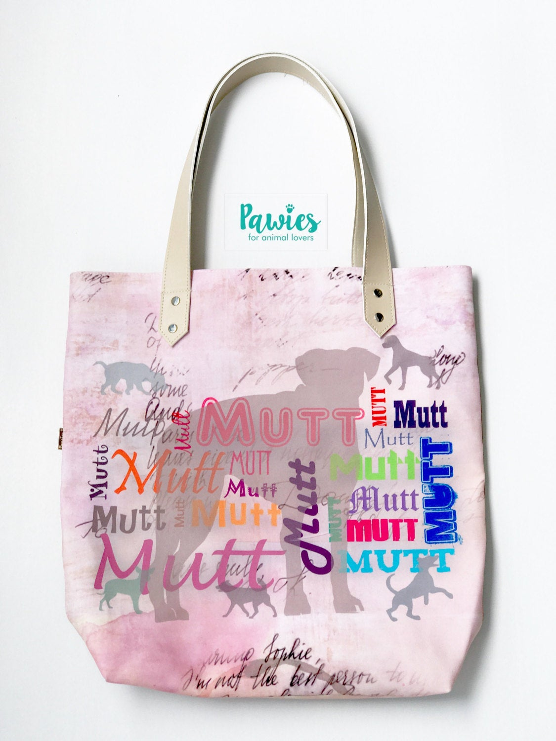MUTT TOTE BAG !! Rescue dog, tote bag, animal lovers, dog lovers.