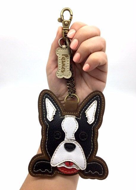 Boston Terrier Keychain • Vegan leather