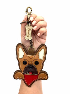 French Bulldog handmade Keychain • Vegan leather