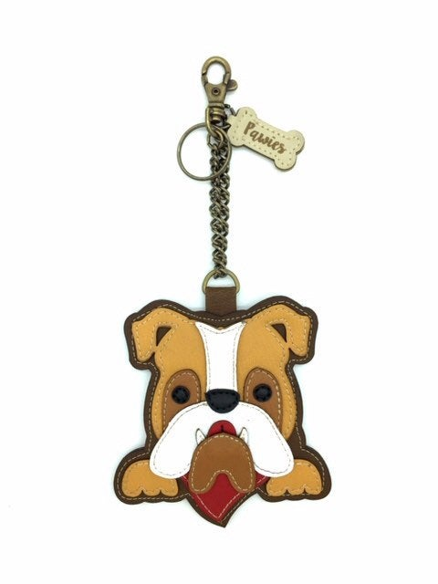 Bulldog Handmade Keychain • Vegan leather