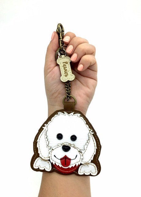 Bichon Keychain Handmade • Vegan leather