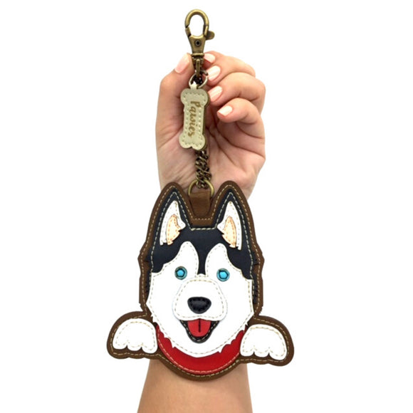 Siberian Husky Handmade Keychain • Vegan leather