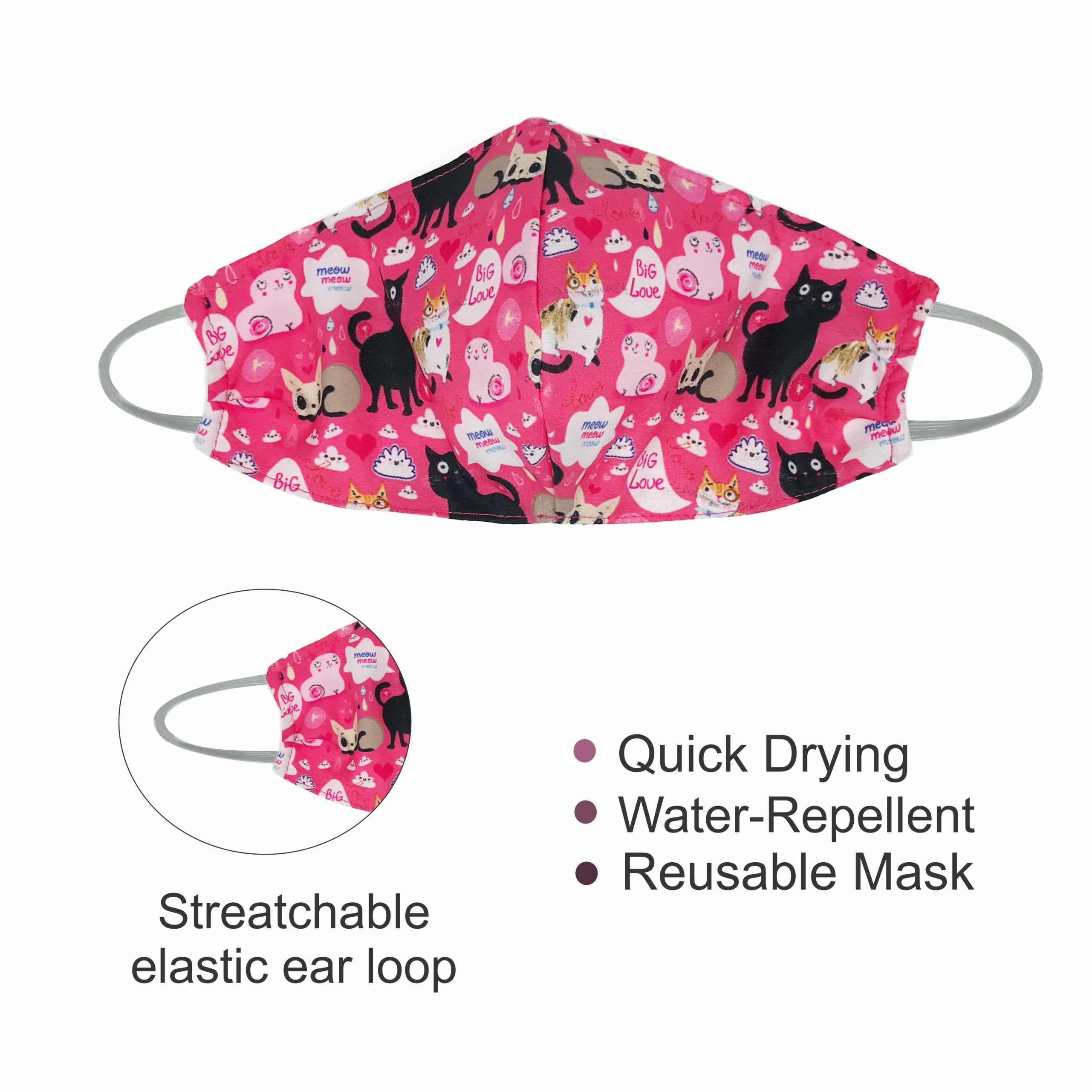 Reusable Mask - Polyester Blend (Water-Repellent) cat lovers