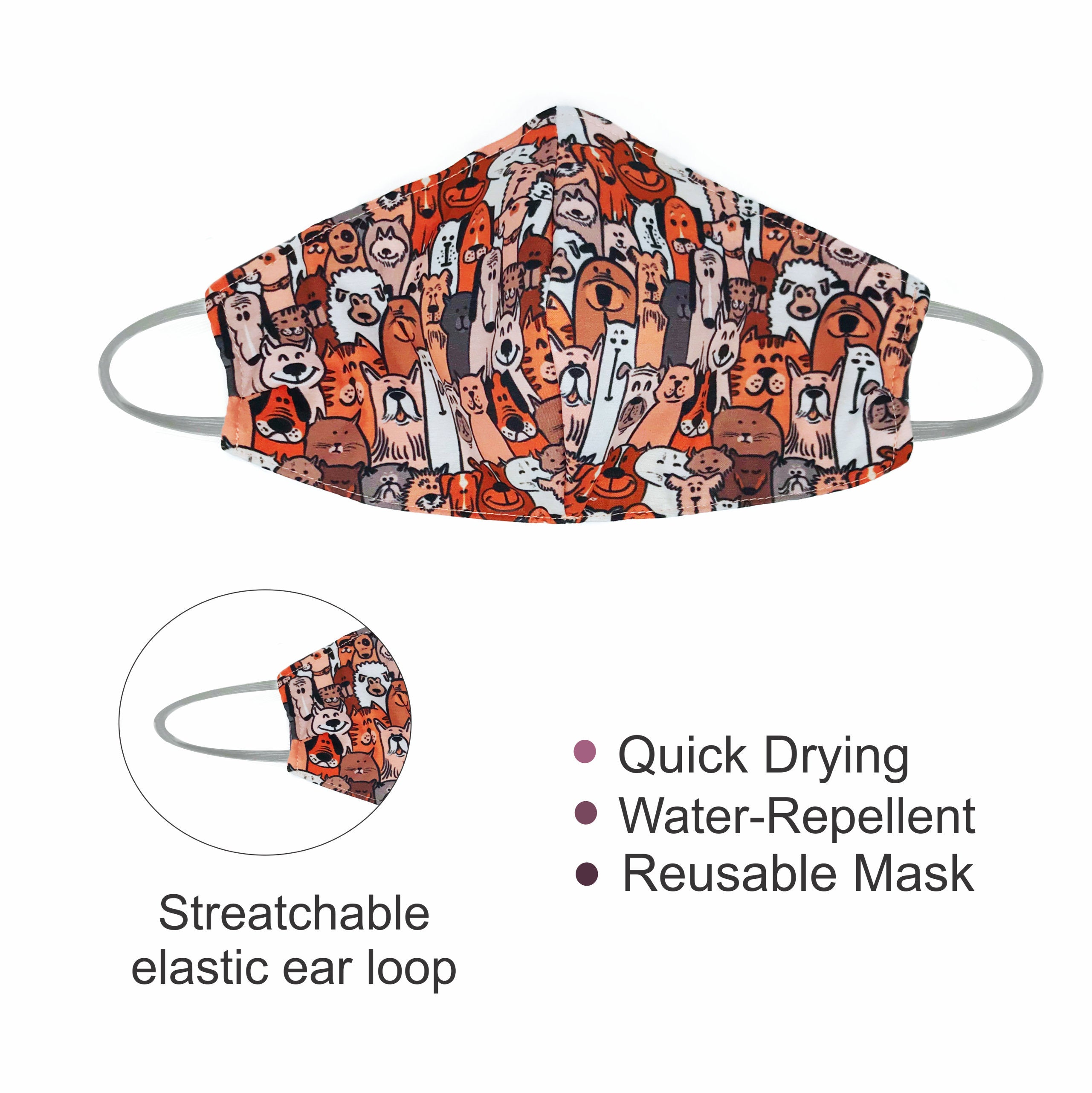 Reusable Mask - Polyester Blend (Water-Repellent) Dog lovers
