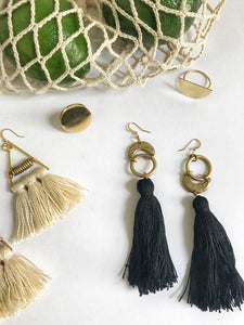 fringe moon earrings