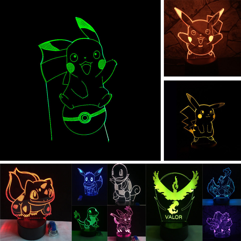 Visual Holiday Action Illusion Led Pokeball Light Bay Role Pikachu Gifts Bulbasaur Night 3d Go Rgb Christmas Lamp Figure Pokemon lJFTK31c