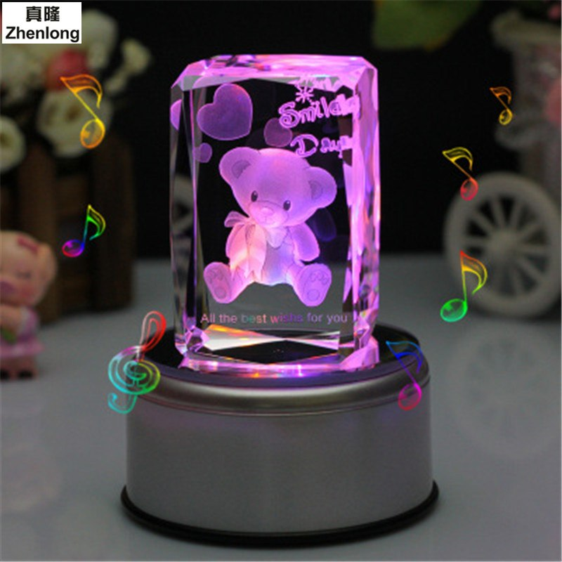 Pokemon Furnishing Ball Crystal Decoration Lamp Art Box Home Led Colorful Glass Rotate 3d Articles Go Bear Base Music n0wON8XPk