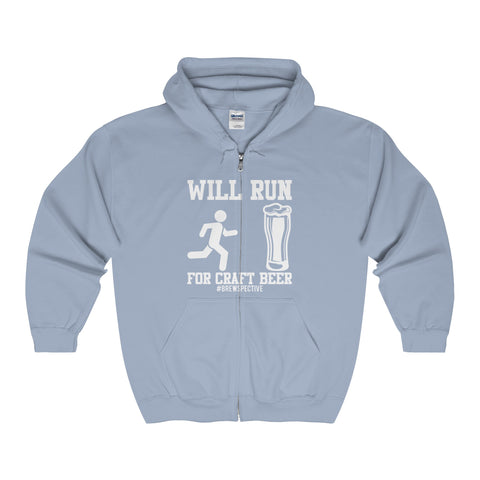 'Will Run For Craft Beer' Hooded Sweatshirt, White Print Version