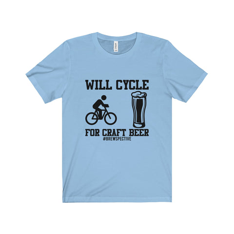'Will Cycle For Craft Beer' Tee, Black Print Version