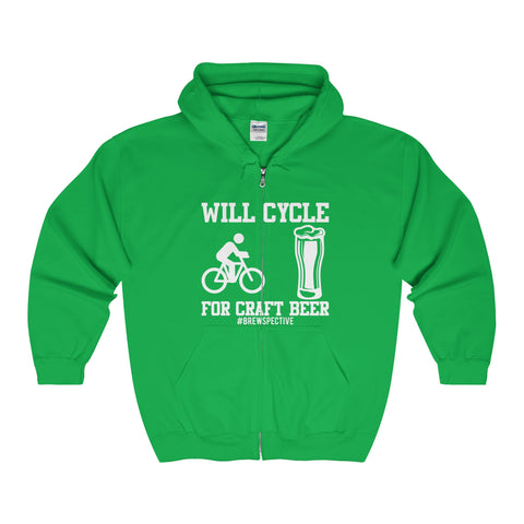 'Will Cycle For Craft Beer' Hooded Sweatshirt, White Print Version