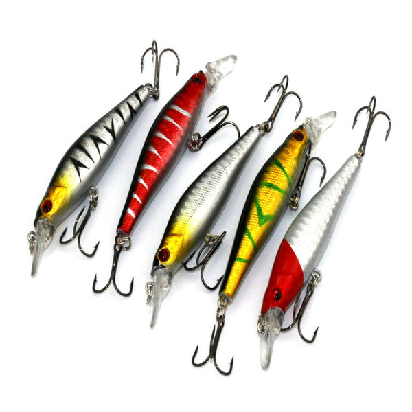 Minnow Fishing Bass Lures - 5pcs Treble Hooks Baits