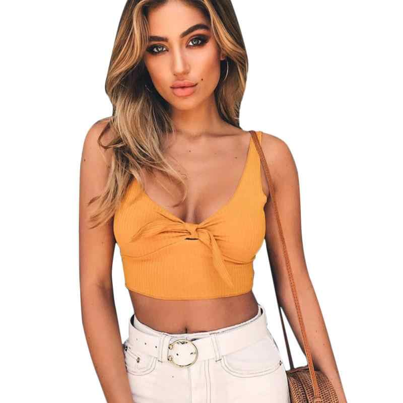 Front Tie Ribbed Crop Top