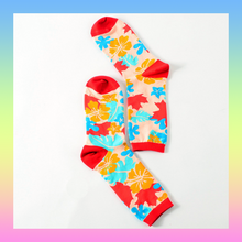 Colorful autumn leaves and flowers socks