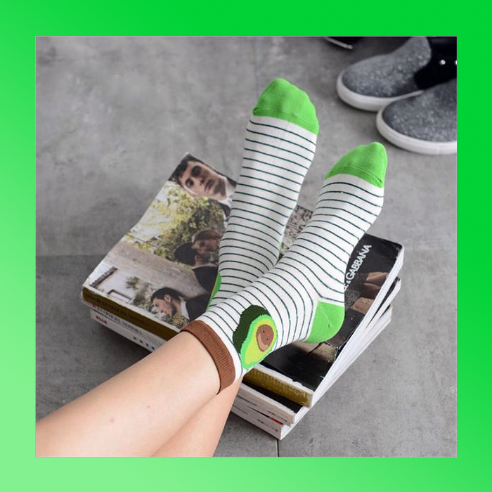 Cute kawaii funny avocado socks