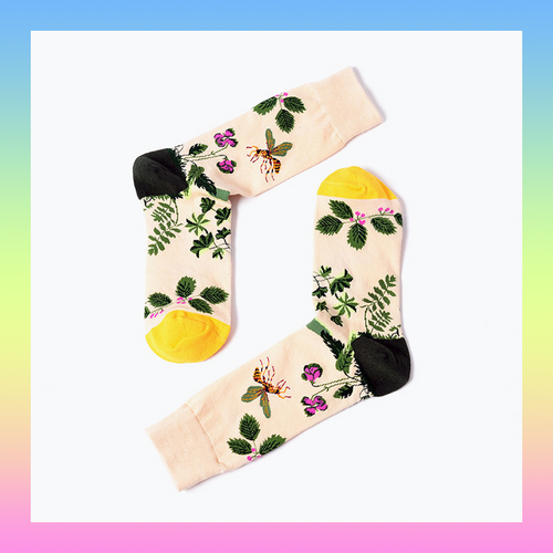 Bee pollinating flowers floral garden socks