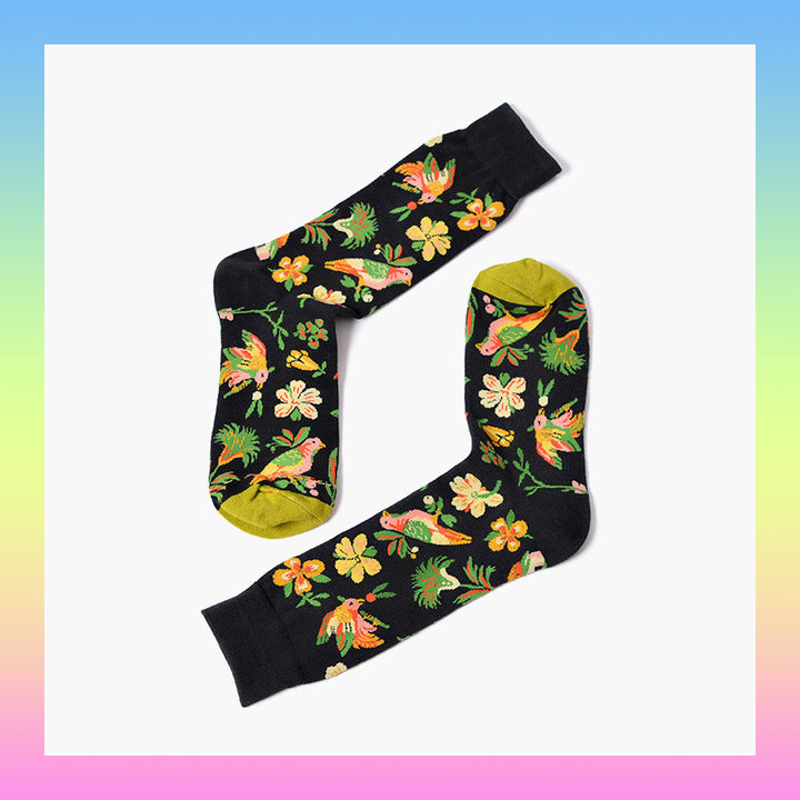 flowers and birds socks
