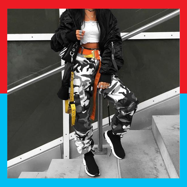 Street style hip hop camouflage grey yellow pants