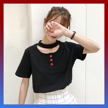 Kawaii grunge heart buttons choker collar t-shirt