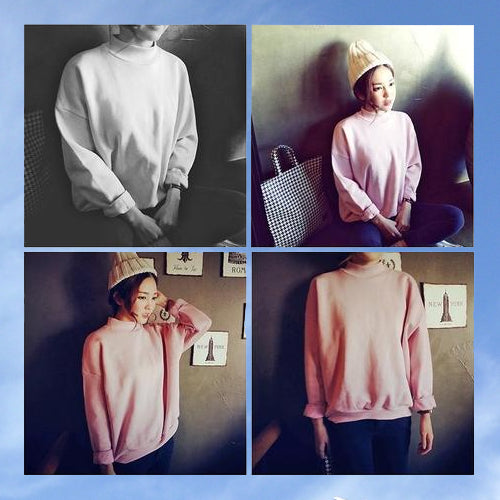 Plain Circle Collar Sweatshirt