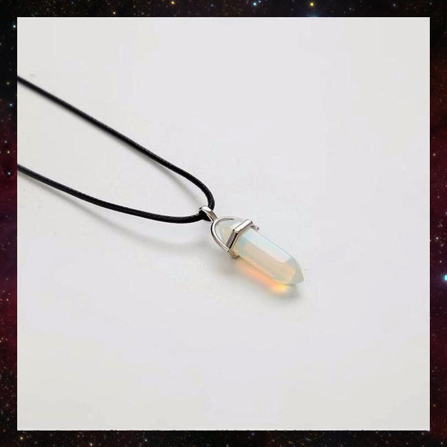 Witchy witch natural crystal stone pendant necklace