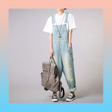 Denim light blue baggy loose relaxed overalls
