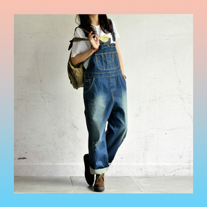 Denim dark blue baggy loose relaxed overalls