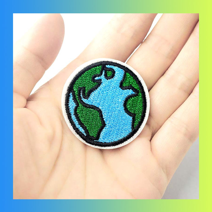 Globe earth planet iron on patch DIY