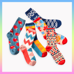 Colorful retro funky patchwork socks