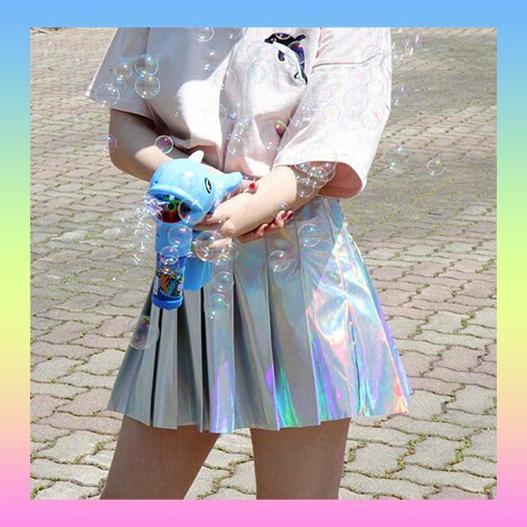 iridescent holographic shiny pleated high waisted skirt