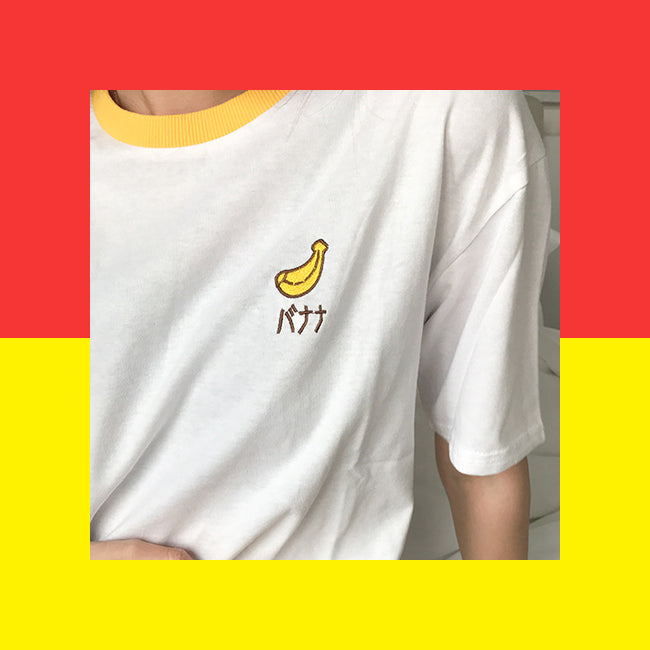 Japanese banana embroidered ringer t-shirt kawaii harajuku