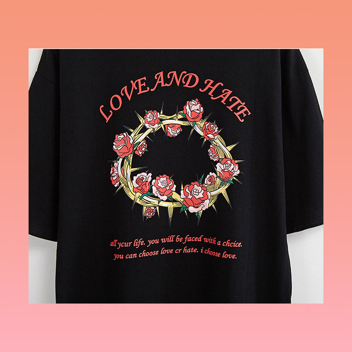 Love and Hate Roses and Crown of Thorns T-Shirt