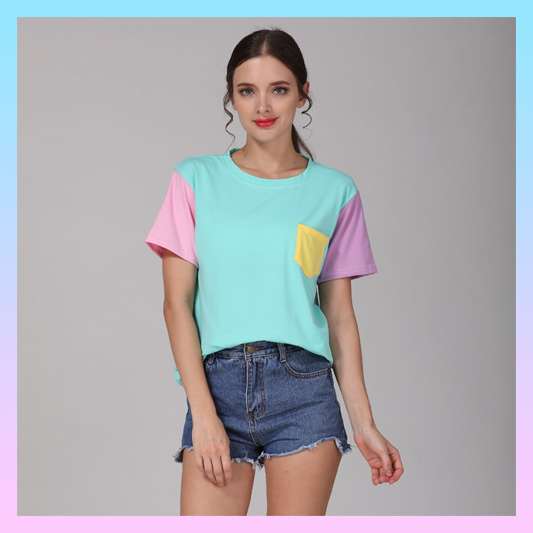 Kawaii Pastel Patchwork Pocket Tee T-shirt
